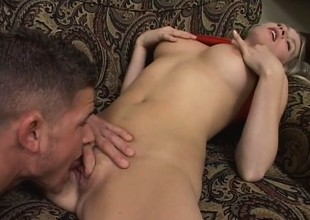 A leggy blonde babe has a filthy fantasy about trying a-hole to mouth