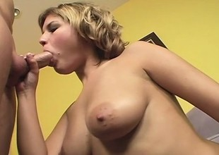 Horny Babe Drinks Sticky Sperm