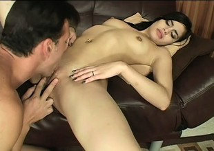 Young brunette Tuesday sticks a hard dick in her wet crack and can't stop fucking it