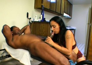 Tina has a huge black cock driving her hairy pussy to intense pleasure