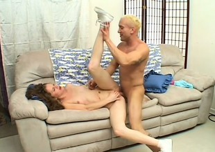Pretty blonde college girl has a well hung guy banging her fiery peach