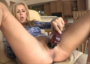 She puts the vibrator aside and fingers her taut twat