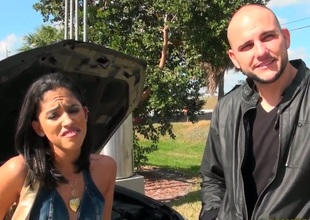My big dicked friend Jmac meets young and petite Latina brunette named Maria on the street