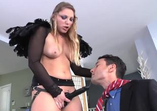 Pretty young babe Aurora Snow penetrates his mouth using a huge black strap-on, because she sucked Gabriels penis yearly. This wench takes a lot of pleasure, drilling his cute small mouth.