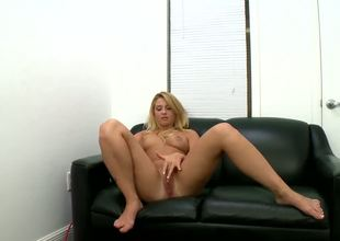 This young blonde student needs money! She came to get a fresh work! This is her first audition but she doesnt hesitates to spread her long legs and rub her pussy in front of the camera.