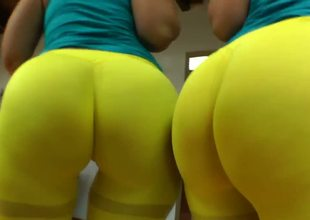 These horny young sluts just wanted to do a little stretching before Yoga class, but their neon-yellow spandex pants and near flawless asses are attracting unwanted attention.