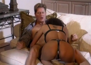 Palpitating cowgirl in nylon stockings and a thong screaming as this babe gets hammered hardcore