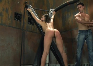 Compassionate babe yelling while her juicy pussy is smashed hardcore missionary in bdsm sex