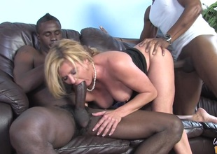 MILF Ginger Lynn in MMF interracial threesome fucking black cocks