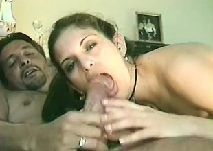 Kinky young chick Angelina impales her snatch on some stiff meat