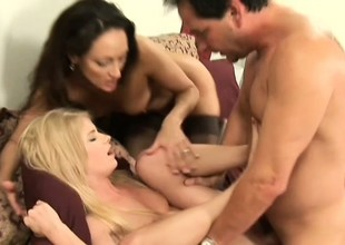 His bisexual wife brings home a cute coed for a sexy threesome