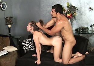 Slender cutie Riley Reid enjoys some dirty doggystyle action