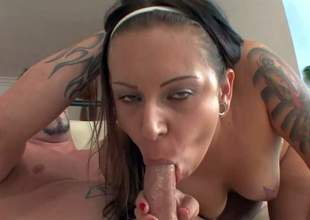Young lusty brunette slut with many cheep tattoos and red nails and starts on nipples gives head to Jack Vegas and gets wet twat banged hard on a lazy afternoon