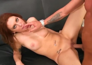 Sasha , a redhead babe with a lovely body comes over for porn casting. The tattooed agent shows no mercy for her tight pussy.