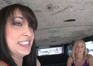 In this awesome Bang Bus episode two young hotties(Liz and Nicole Aniston) answer troubling questions about mankind, give the boys directions, and do some seductive posing.