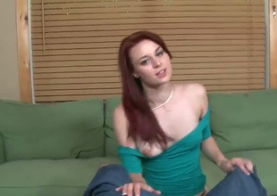 Jmac wants something particular today and he has Sage Evans coming in and sucking on his wang. She is this gorgeous teen redhead and her cute face is no indication of what a slut she is.