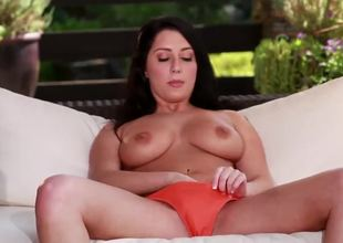 Dark haired hottie with big boobies Allesandra Snow is doing the great job rubbing her wet cunt on camera in her sexy orange panties. Have a fun the hawt masturbation video.