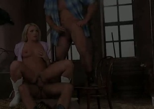 Blond Brittany Spring shows her slutty side to horny guy by taking his rock hard tool in her mouth