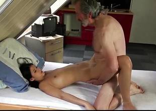 Teen beauty fucked by old dude